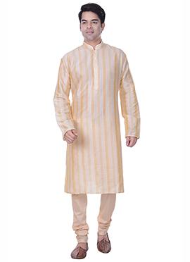 Off White N Light Orange Striped Kurta Pyjama