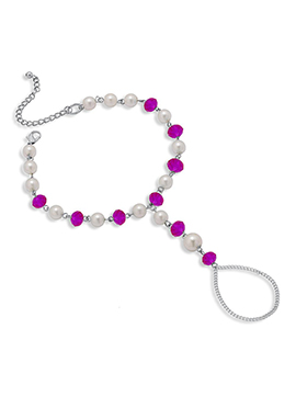 Off White N Magenta Beads Chain Anklet