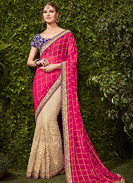 Off White N Magenta Half N half Saree