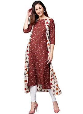 Off White N Maroon Cotton Knee Length Kurti