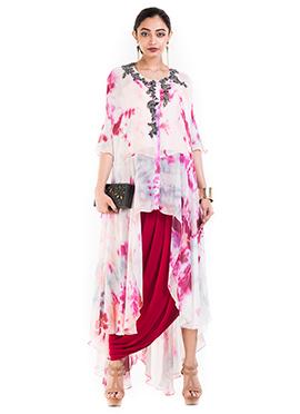 Off White N Maroon Georgette Skirt Set