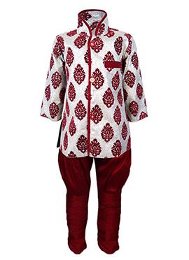 Off White N Maroon Silk Cotton Kids Kurta Pyjama
