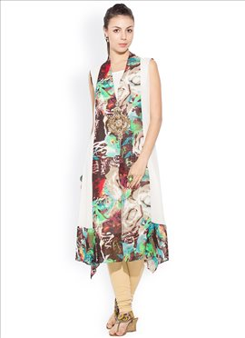 Off White N Multicolor Asymmetrical Kurti