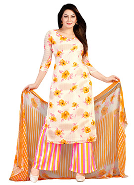 Off White N Mustard Georgette Palazzo Suit