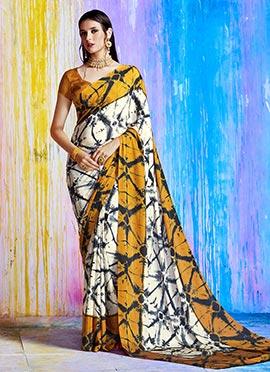 Off White N Mustard Printed Saree