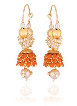 Off White N Orange Beads Hoop Earring