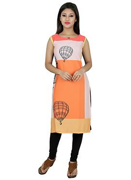 Off White N Orange Crepe Kurti