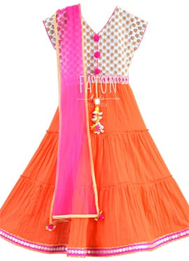 Off White N Orange Kids Anarkali Dress