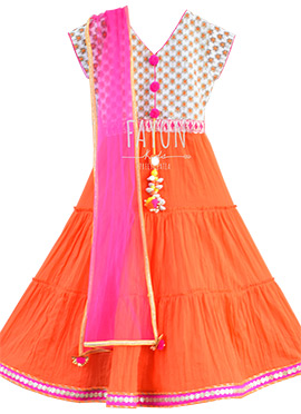 Off White N Orange Teens Anarkali Dress
