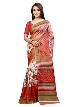 Off White N Peach Bhagalpuri Silk Saree