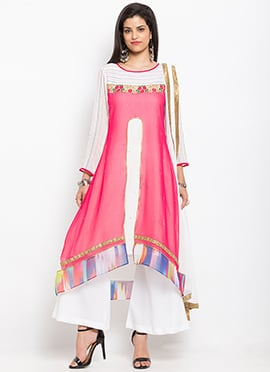 Off White N Pink Asymmetrical Palazzo Suit