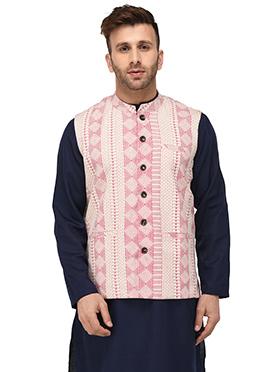 Off white N Pink Cotton Nehru jacket