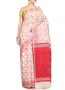 Off White N Pink Handloom Art Silk Cotton Jamdani Saree