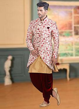 Off White N Pink Jacquard Indowestern Sherwani