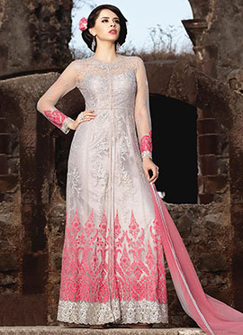 Off White N Pink Net Abaya Style Anarkali Suit