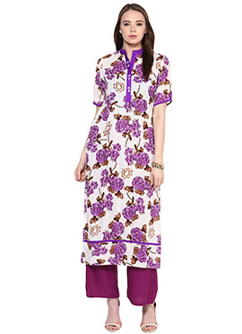 Off White N Purple Cotton Printed Kurti