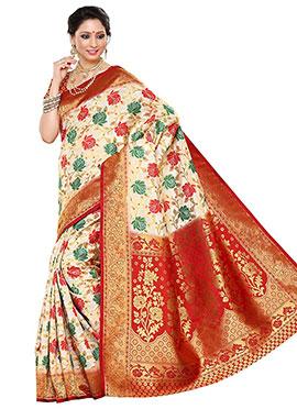 Off White N Red Art Silk Saree