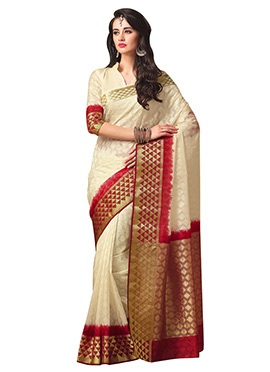 Off White N Red Art Silk Saree