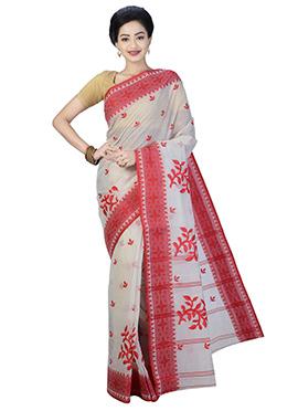 Off White N Red Bengal Handloom Saree