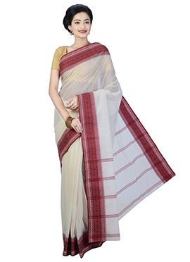 Off White N Red Bengal Handloom Saree
