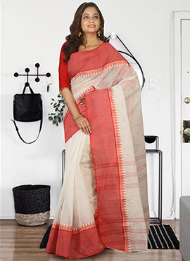 Off White N Red Bengal Handloom Tant Saree