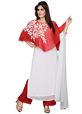 Off White N Red Cape Style Palazzo Set