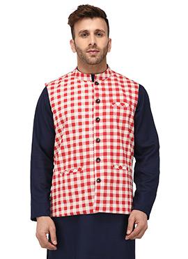 Off White N Red Cotton Nehru Jacket