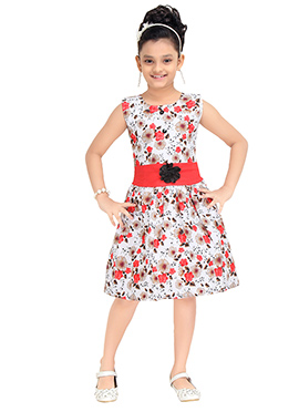 Off White N Red Kids Gown