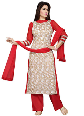 Off White N Red Palazzo Suit