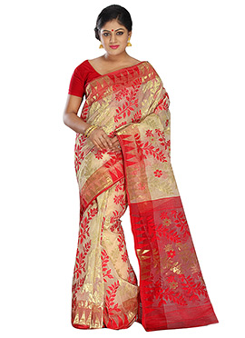 Off White N Red Pure Silk Cotton Jamdani Saree