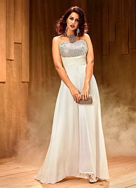 Off White N Silver Asymmetrical Anarkali Gown