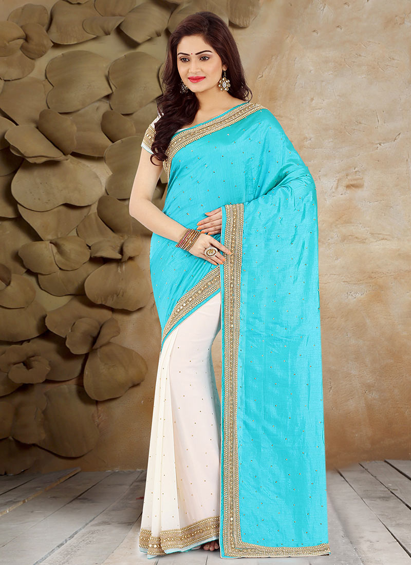 Buy Off White N Sky Blue Half N Half Saree, Beads , Stones , Hand ...