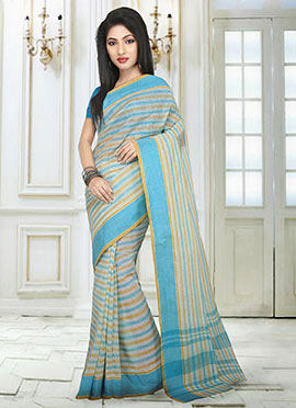 Off White N Sky Blue Tant Saree