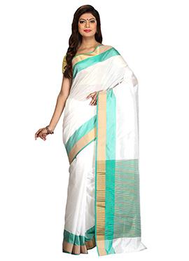 Off White N Turquoise Art Silk Saree