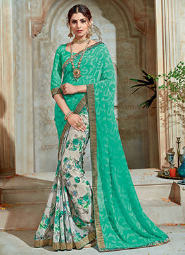 Off White N Turquoise Green Half N Half Saree