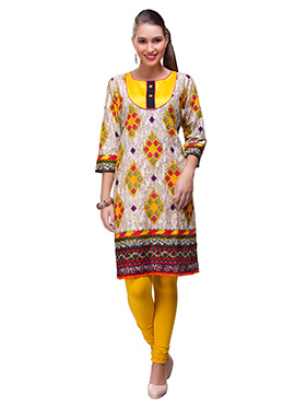 Off White N Yellow Blended Cotton Kurti
