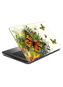 Off White N Yellow Butterfly Laptop Skin