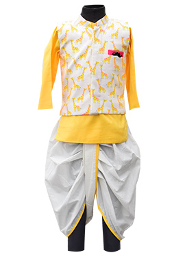 Fayon Off White N Yellow Kids Bandi Set