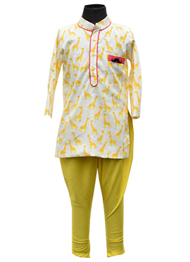 Fayon Off White N Yellow Kids Kurta Pyjama