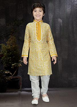 Off White N Yellow Kids Kurta Pyjama