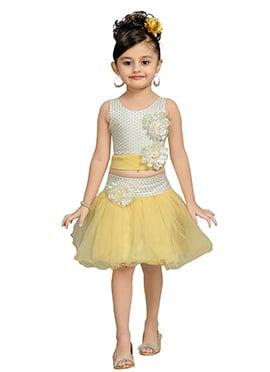 Off White N Yellow Kids Net Skirt Set