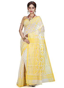 Off White N yellow Silk Cotton Saree