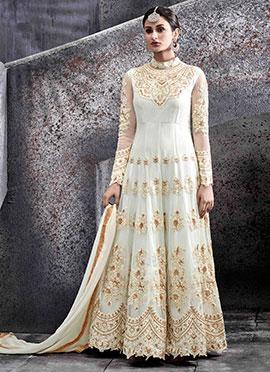 Off White Net Abaya Style Anarkali suit