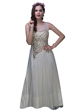 Off White Net Anarkali Gown