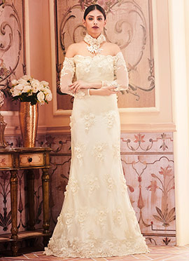 Off White Net Anarkali Gown