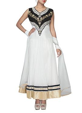 White Net Ankle Length Anarkali Suit