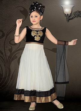 Off White Net Ankle Length Teens Anarkali Suit