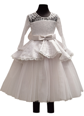 Fayon Off White Net Kids Anarkali Dress