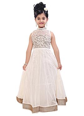 Off White Net Kids Anarkali Gown