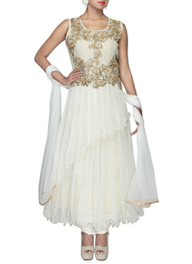 Off White Net Layered Ankle Length Anarkali Suit